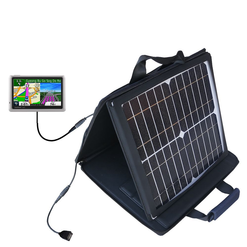 Gomadic SunVolt High Output Portable Solar Power Station designed for the Garmin nuvi 1490LMT 1490T - Can charge multiple devices with outlet speeds