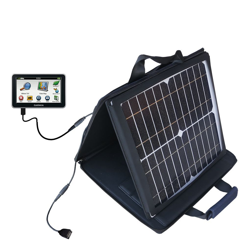 SunVolt Solar Charger compatible with the Garmin Nuvi 2460 2450 and one other device - charge from sun at wall outlet-like speed