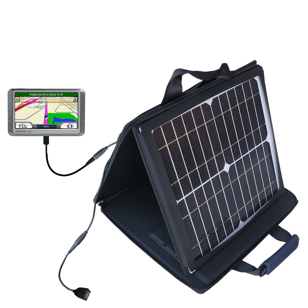SunVolt Solar Charger compatible with the Garmin Nuvi 250 250W 250WT and one other device - charge from sun at wall outlet-like speed