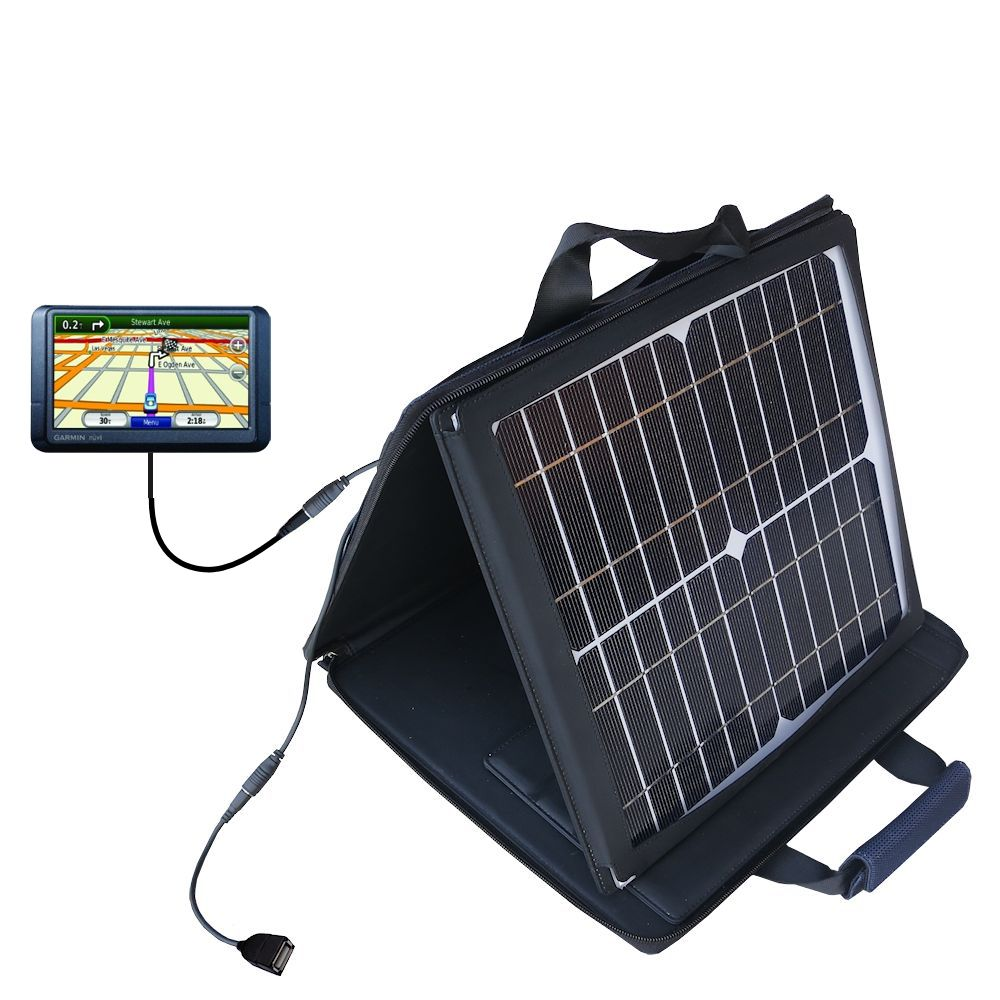 Gomadic SunVolt High Output Portable Solar Power Station designed for the Garmin Nuvi 255W 255WT 255 - Can charge multiple devices with outlet speeds