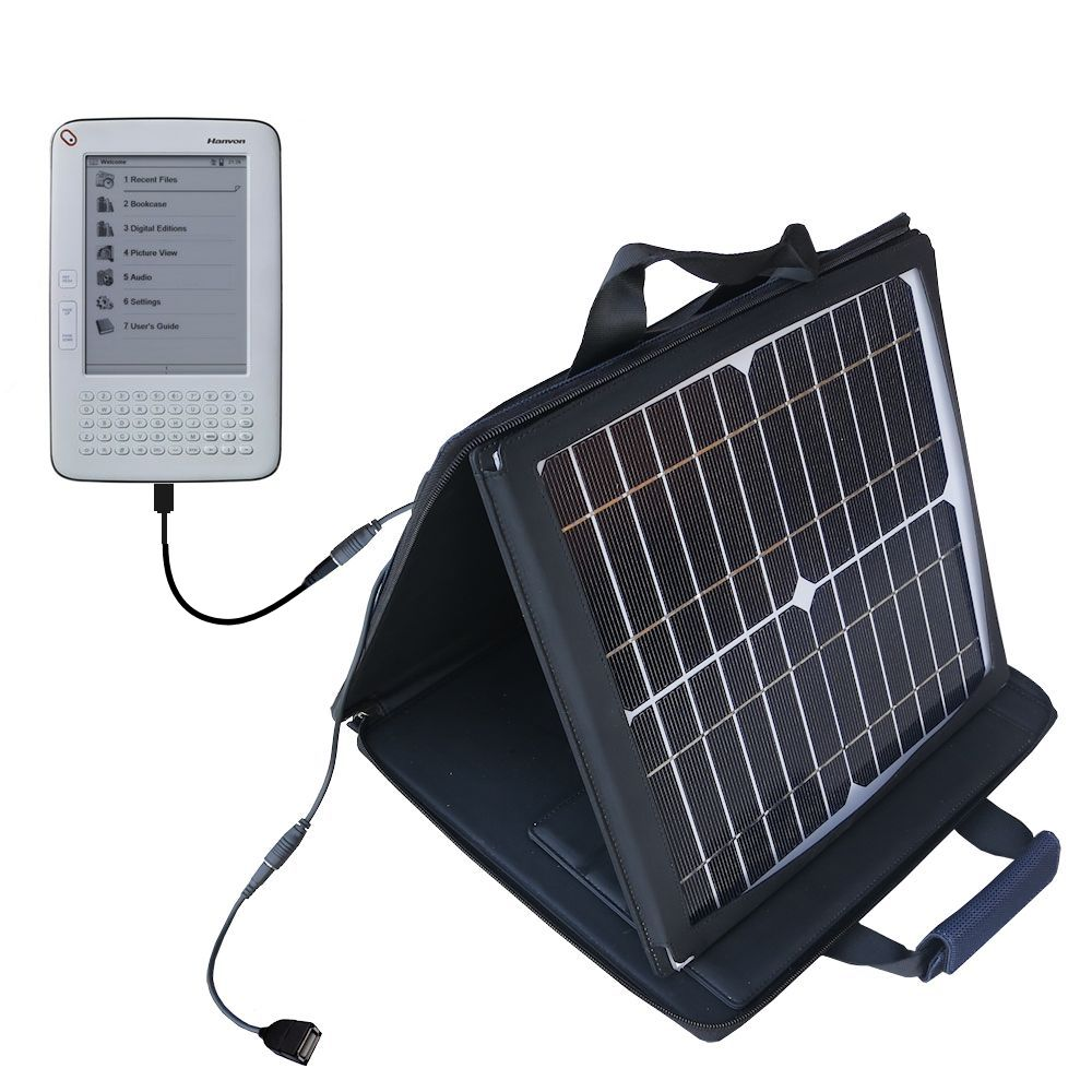 Gomadic SunVolt High Output Portable Solar Power Station designed for the Hanvon WISEreader B630 - Can charge multiple devices with outlet speeds