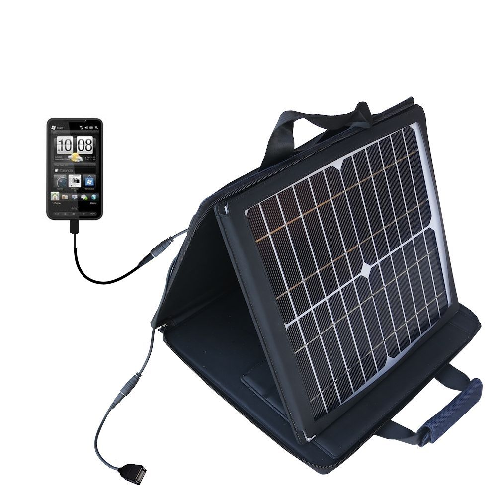 Gomadic SunVolt High Output Portable Solar Power Station designed for the HTC HD2 - Can charge multiple devices with outlet speeds