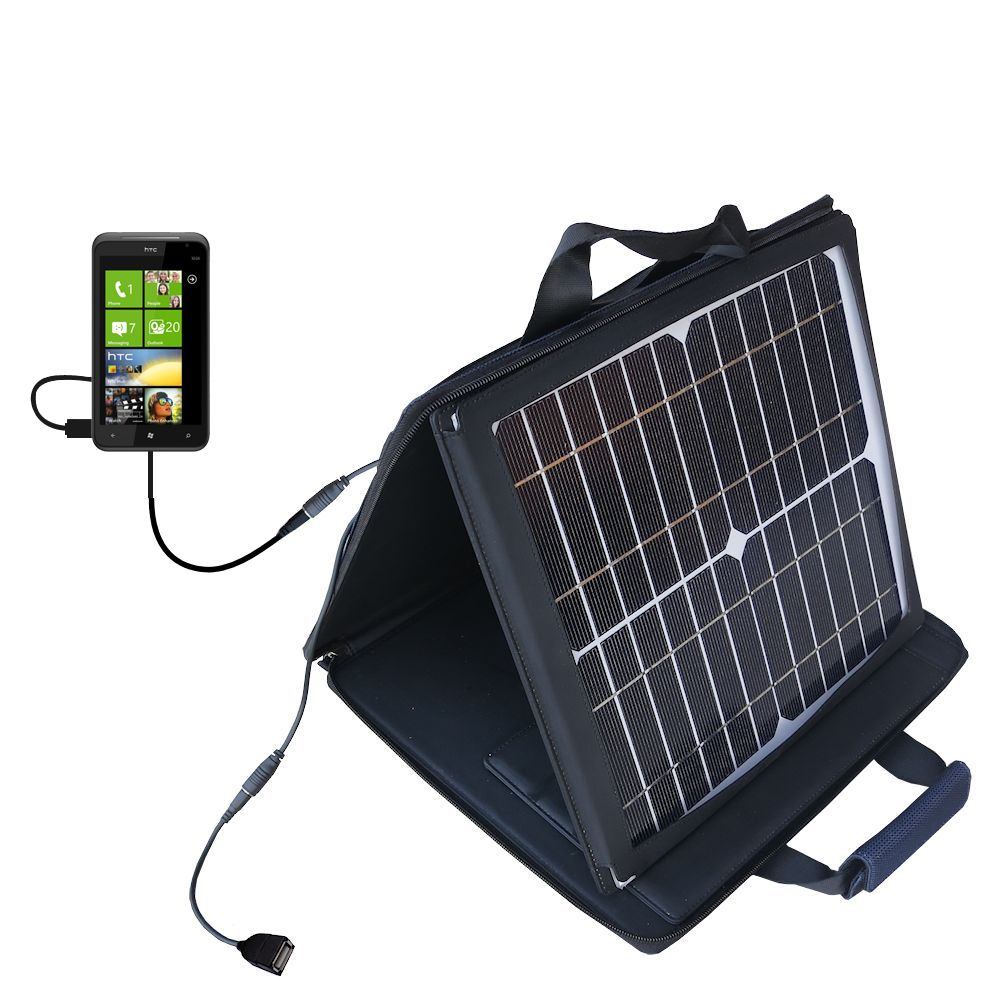 SunVolt Solar Charger compatible with the HTC Titan and one other device - charge from sun at wall outlet-like speed