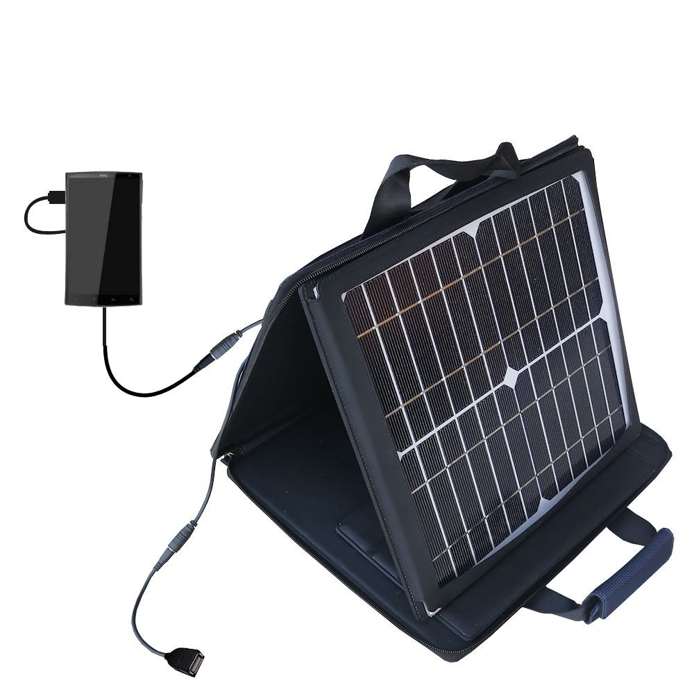 Gomadic SunVolt High Output Portable Solar Power Station designed for the HTC Zeta - Can charge multiple devices with outlet speeds