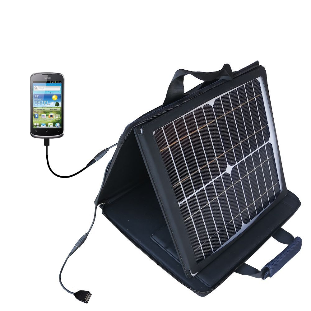 SunVolt Solar Charger compatible with the Huawei U8815 and one other device - charge from sun at wall outlet-like speed
