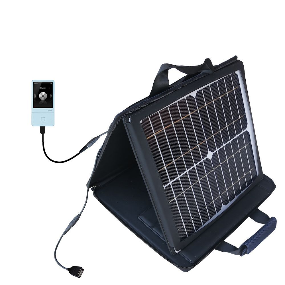Gomadic SunVolt High Output Portable Solar Power Station designed for the iRiver E300 - Can charge multiple devices with outlet speeds