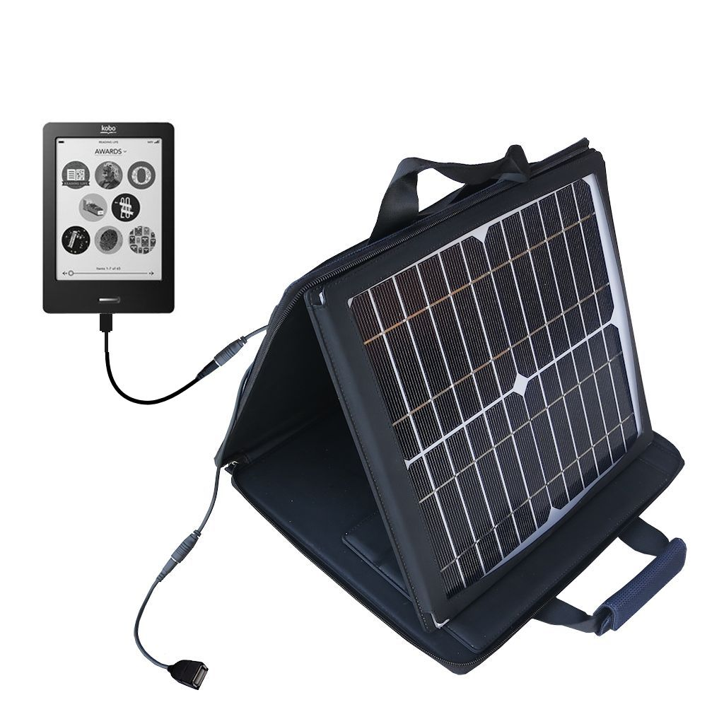 SunVolt Solar Charger compatible with the Kobo eReader Touch and one other device - charge from sun at wall outlet-like speed