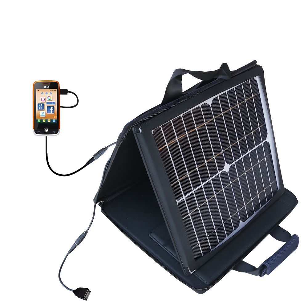 Gomadic SunVolt High Output Portable Solar Power Station designed for the LG Cookie Fresh (GS290) - Can charge multiple devices with outlet speeds