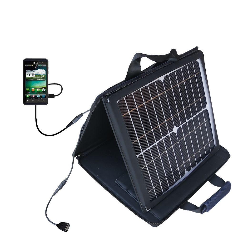Gomadic SunVolt High Output Portable Solar Power Station designed for the LG Thrill 4G - Can charge multiple devices with outlet speeds