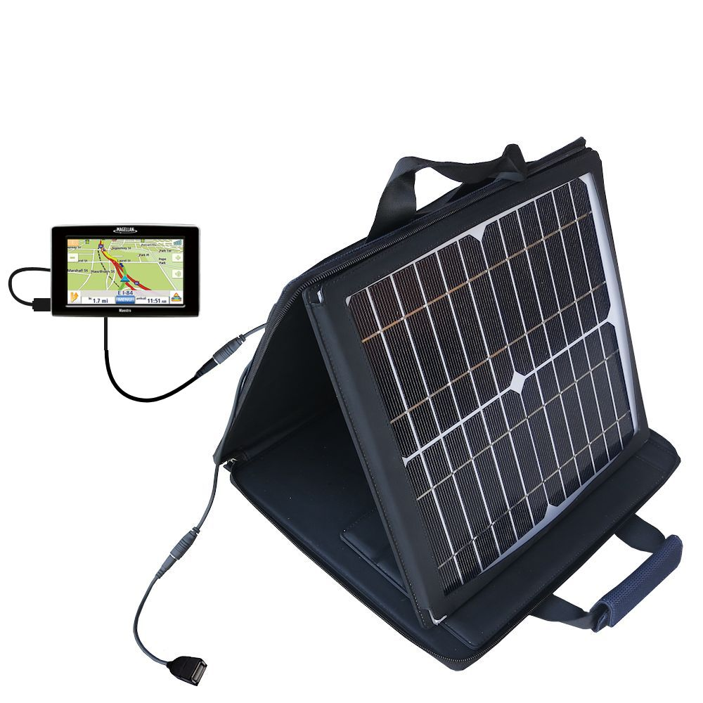Gomadic SunVolt High Output Portable Solar Power Station designed for the Magellan Maestro 3200 - Can charge multiple devices with outlet speeds