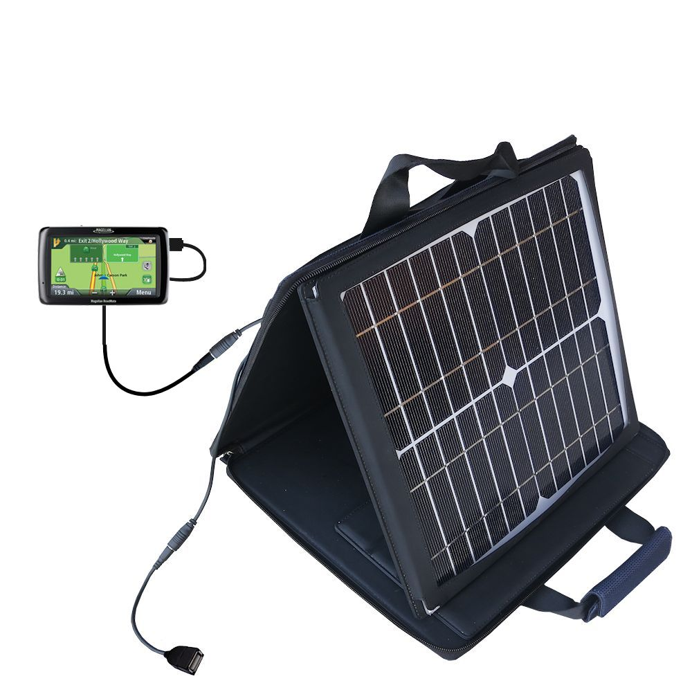 Gomadic SunVolt High Output Portable Solar Power Station designed for the Magellan Maestro 4250 - Can charge multiple devices with outlet speeds