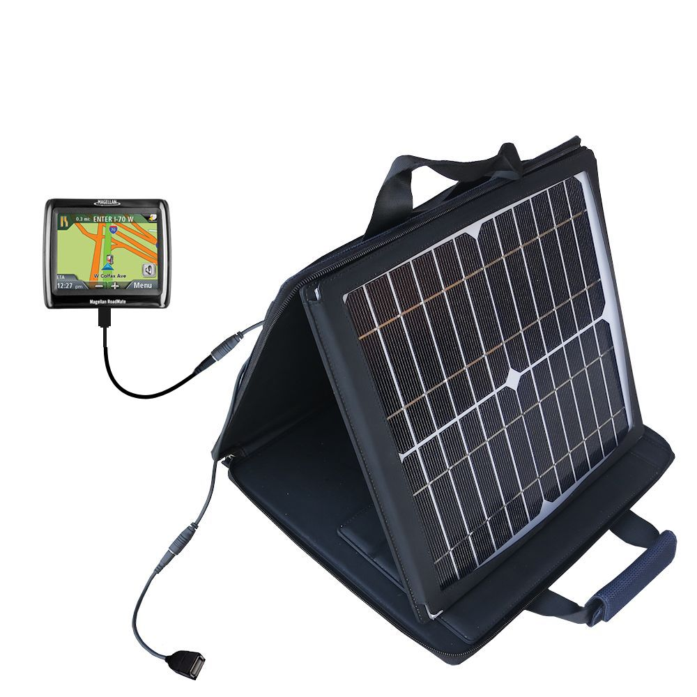 Gomadic SunVolt High Output Portable Solar Power Station designed for the Magellan Roadmate 1210 - Can charge multiple devices with outlet speeds