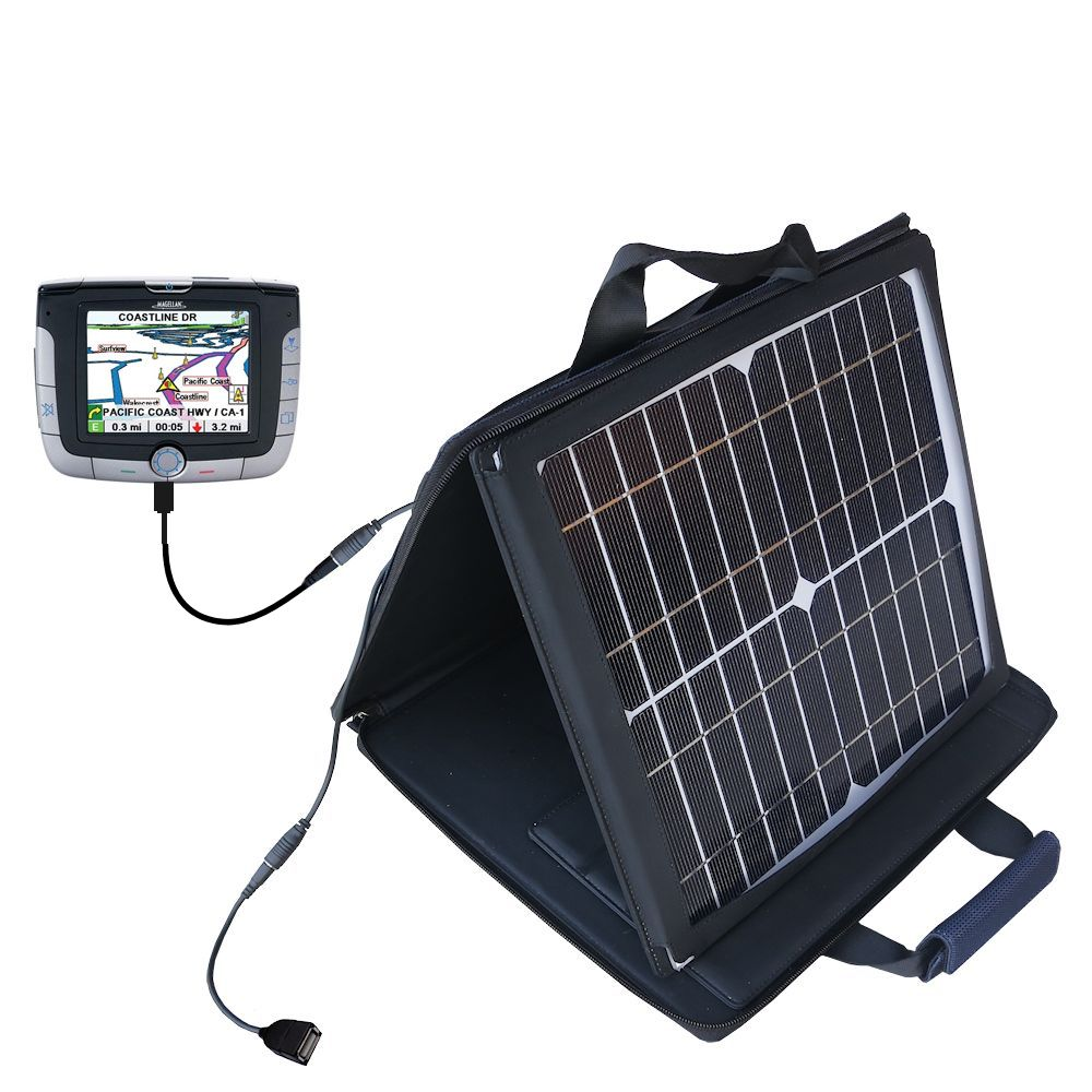 Gomadic SunVolt High Output Portable Solar Power Station designed for the Magellan Roadmate 3000T - Can charge multiple devices with outlet speeds