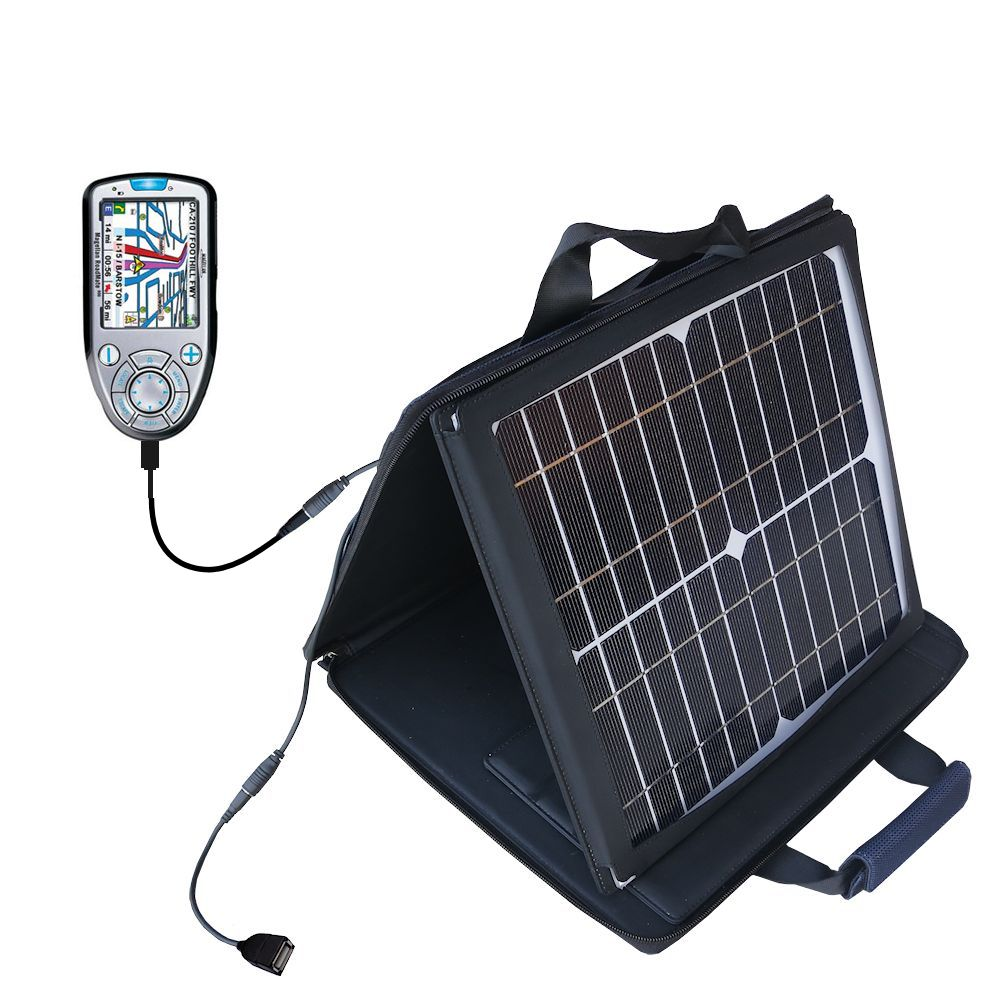 SunVolt Solar Charger compatible with the Magellan Roadmate 800 and one other device - charge from sun at wall outlet-like speed