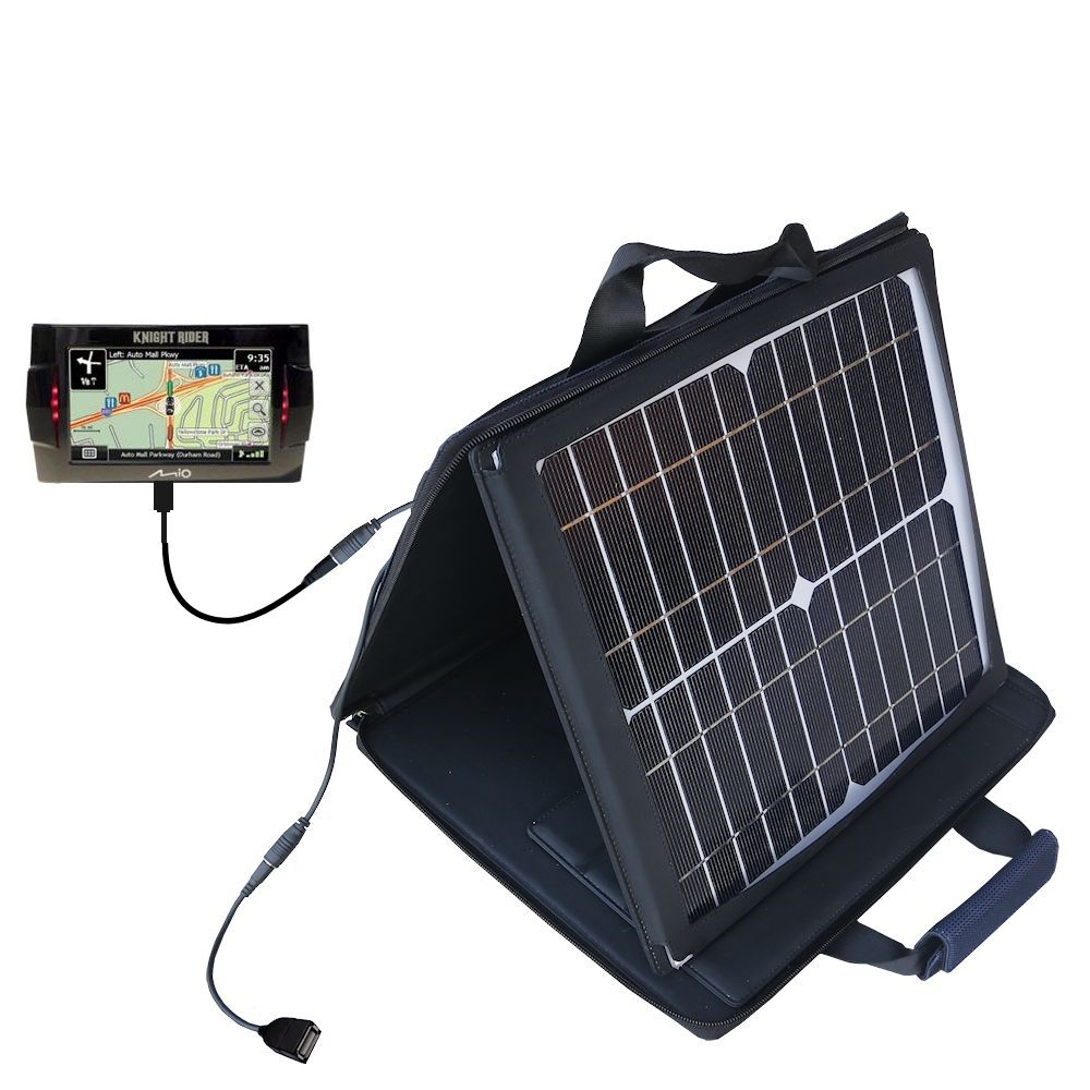 Gomadic SunVolt High Output Portable Solar Power Station designed for the Mio Knight Rider - Can charge multiple devices with outlet speeds