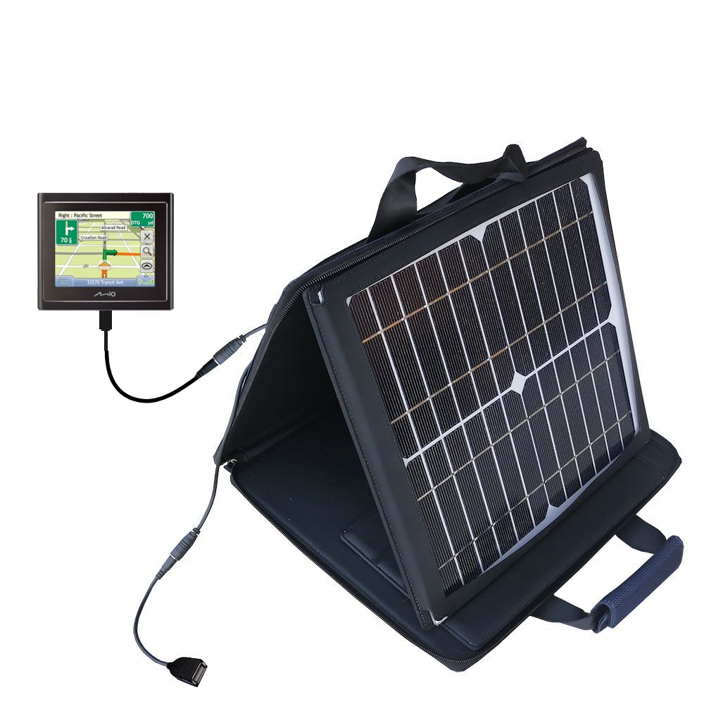 Gomadic SunVolt High Output Portable Solar Power Station designed for the Mio Moov 200 210 - Can charge multiple devices with outlet speeds