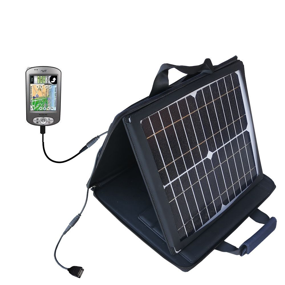 Gomadic SunVolt High Output Portable Solar Power Station designed for the Mio P550 - Can charge multiple devices with outlet speeds