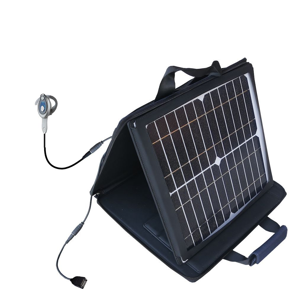 Gomadic SunVolt High Output Portable Solar Power Station designed for the Motorola HS850 - Can charge multiple devices with outlet speeds