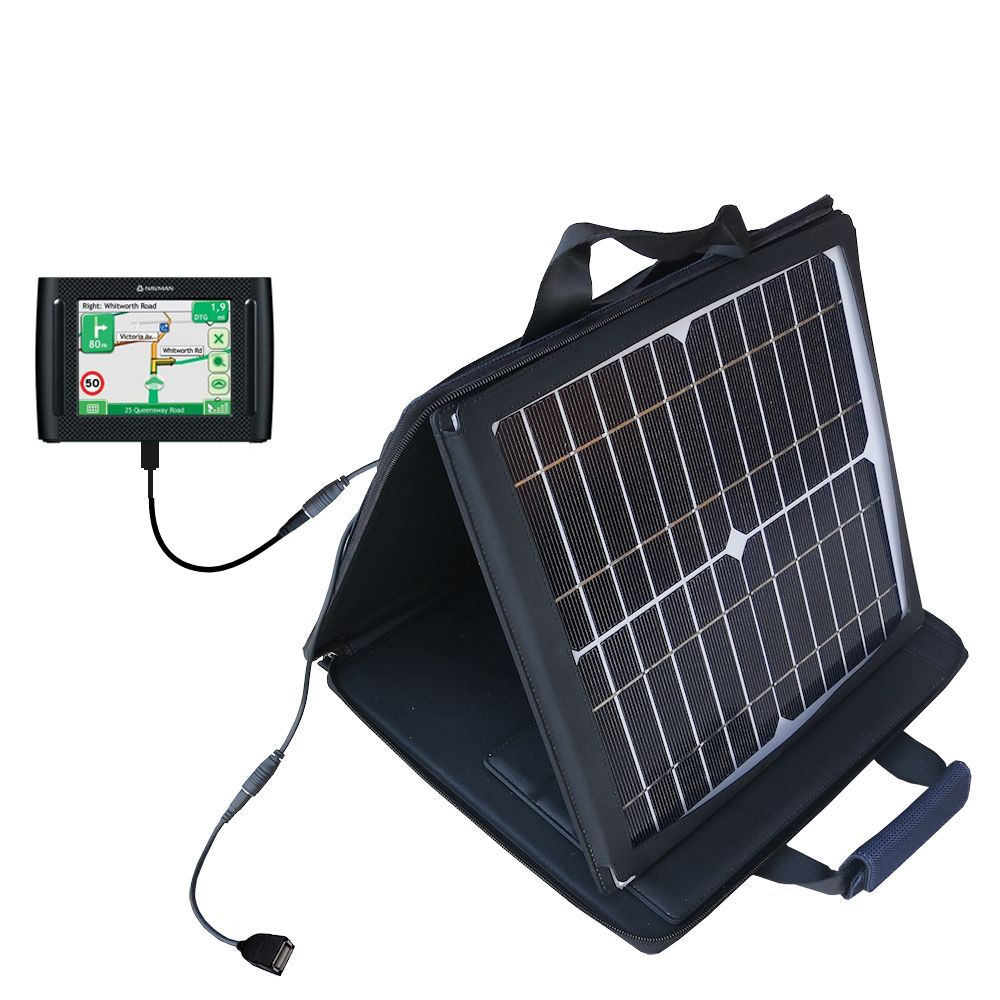 Gomadic SunVolt High Output Portable Solar Power Station designed for the Navman F35 - Can charge multiple devices with outlet speeds