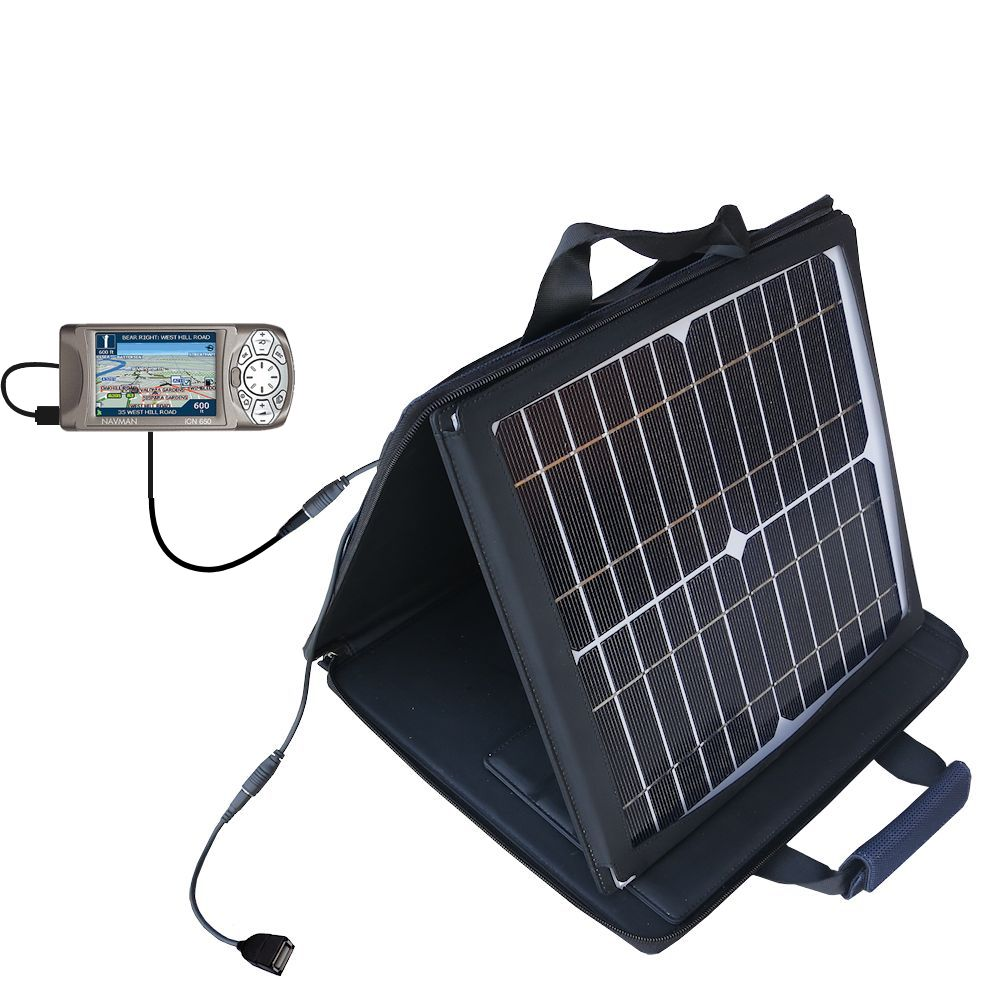 Gomadic SunVolt High Output Portable Solar Power Station designed for the Navman iCN 650 - Can charge multiple devices with outlet speeds