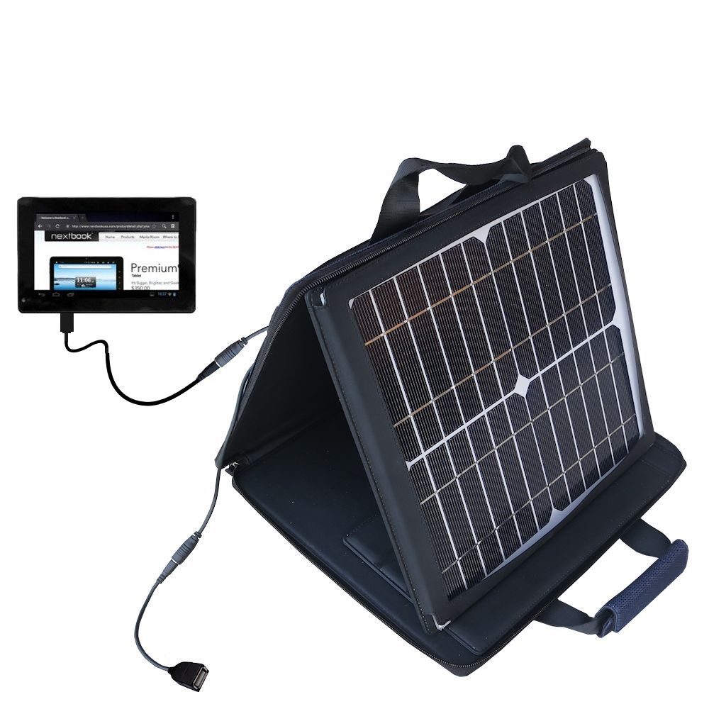 Gomadic SunVolt High Output Portable Solar Power Station designed for the Nextbook Premium 7SE Next7P12 - Can charge multiple devices with outlet speeds