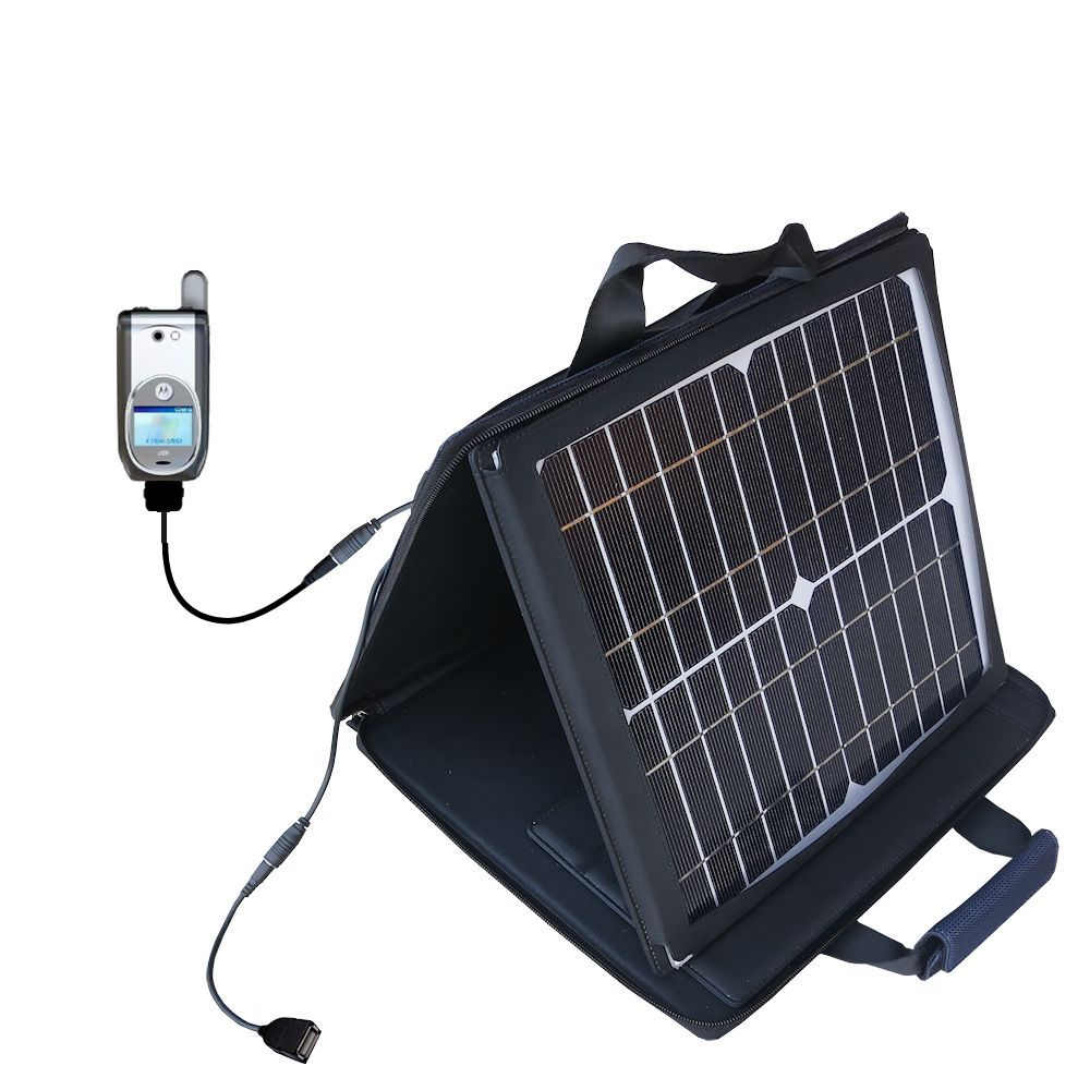 Gomadic SunVolt High Output Portable Solar Power Station designed for the Nextel i920 i930 - Can charge multiple devices with outlet speeds