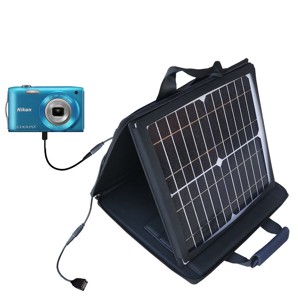 Gomadic SunVolt High Output Portable Solar Power Station designed for the Nikon Coolpix S3200 / S3300 - Can charge multiple devices with outlet speeds