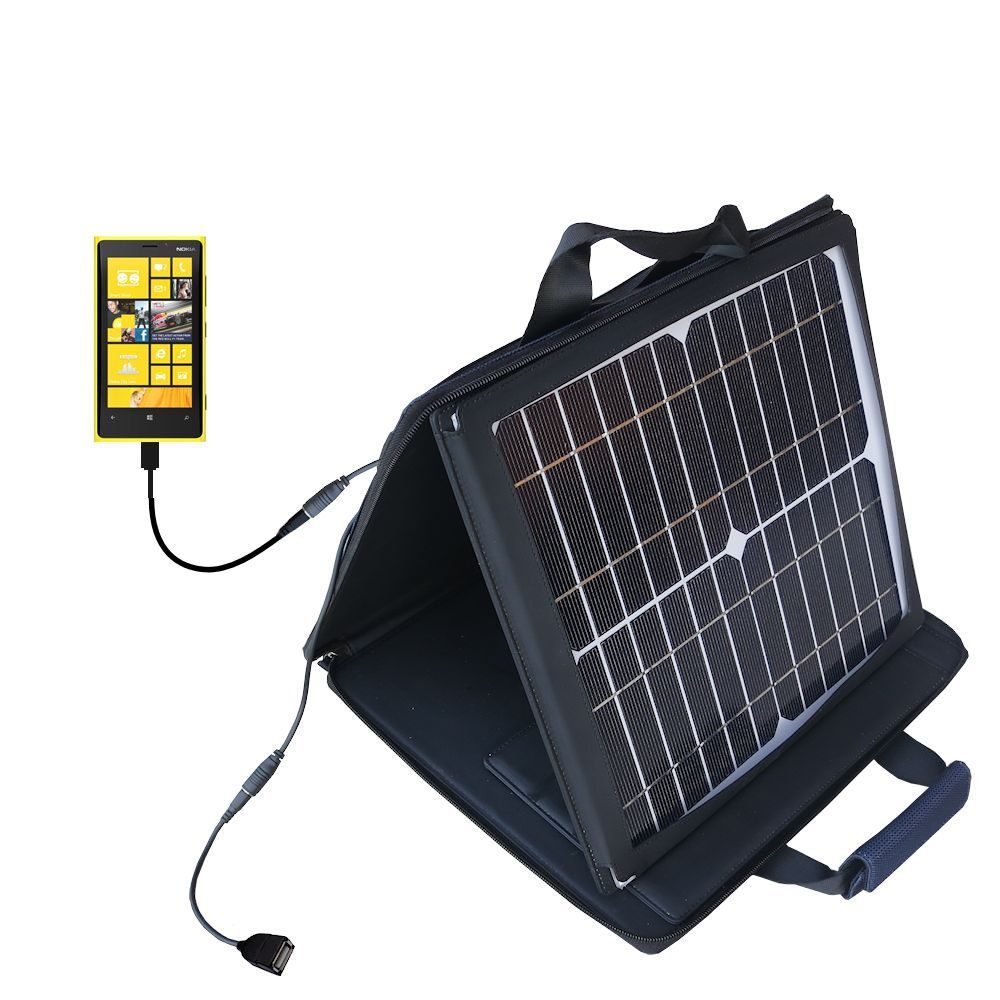 Gomadic SunVolt High Output Portable Solar Power Station designed for the Nokia Lumia 920 - Can charge multiple devices with outlet speeds