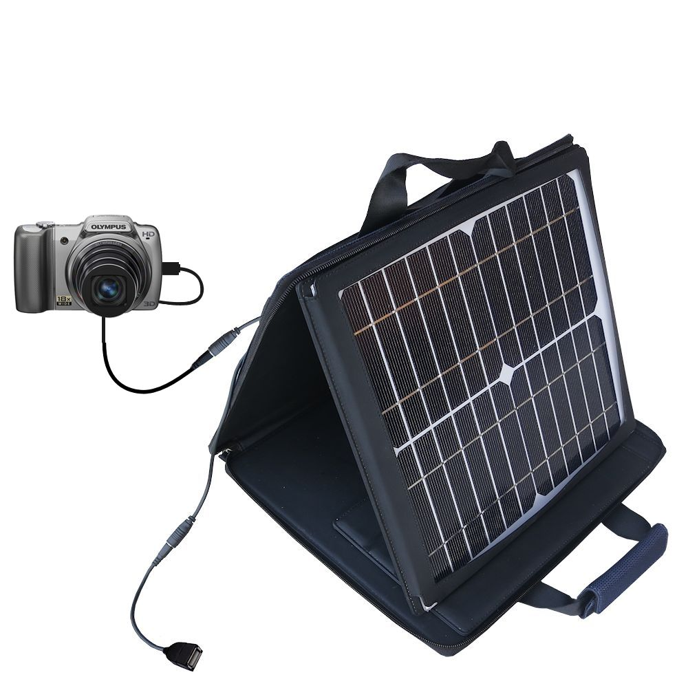 Gomadic SunVolt High Output Portable Solar Power Station designed for the Olympus SZ-10 - Can charge multiple devices with outlet speeds