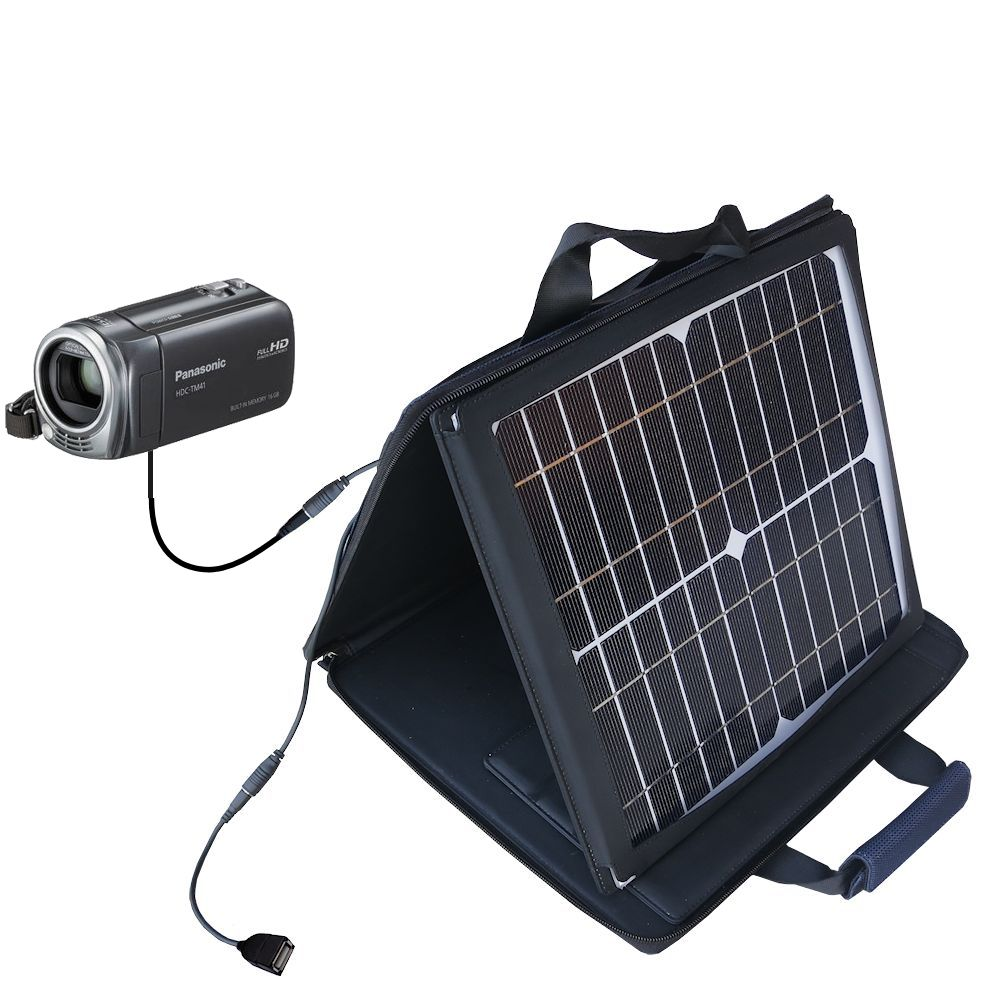 Gomadic SunVolt High Output Portable Solar Power Station designed for the Panasonic HDC-TM40 HDC-TM41 - Can charge multiple devices with outlet speeds