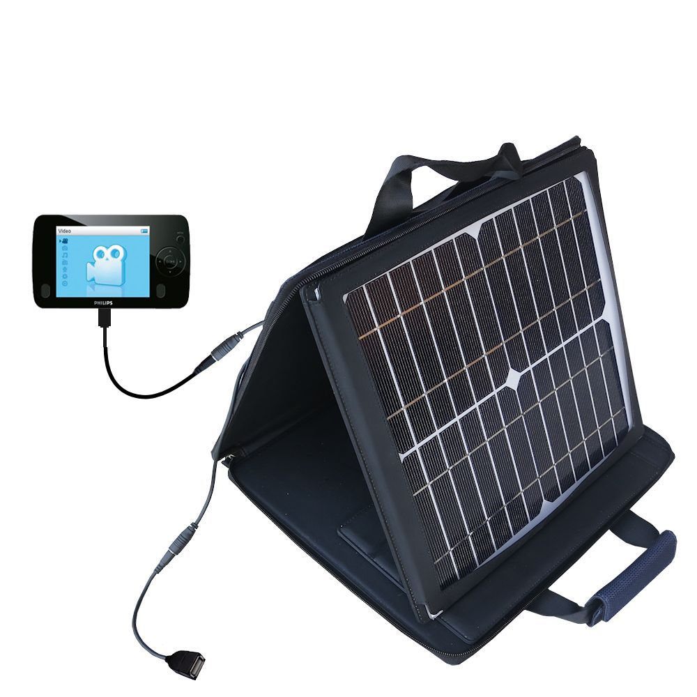 Gomadic SunVolt High Output Portable Solar Power Station designed for the Philips GoGear SA3125/37 - Can charge multiple devices with outlet speeds