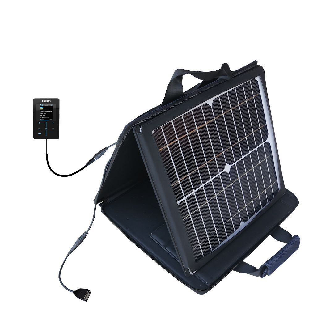 SunVolt Solar Charger compatible with the Philips GoGear SA9200/17 Super Slim and one other device - charge from sun at wall outlet-like speed