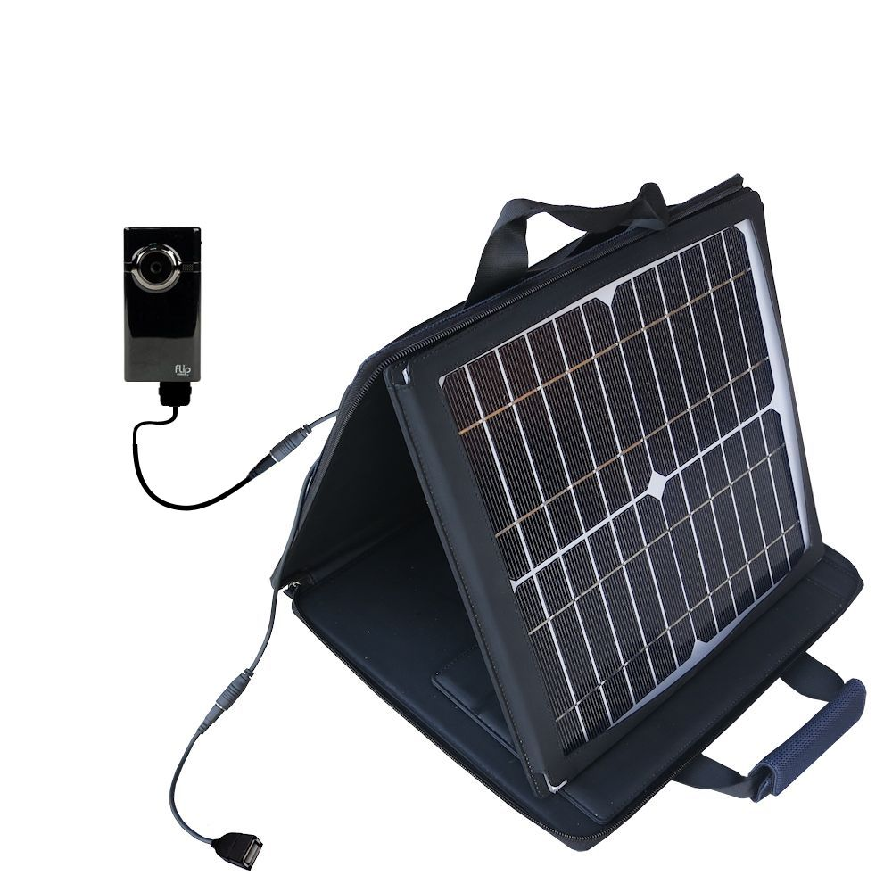 Gomadic SunVolt High Output Portable Solar Power Station designed for the Pure Digital Flip Video MinoHD - Can charge multiple devices with outlet speeds