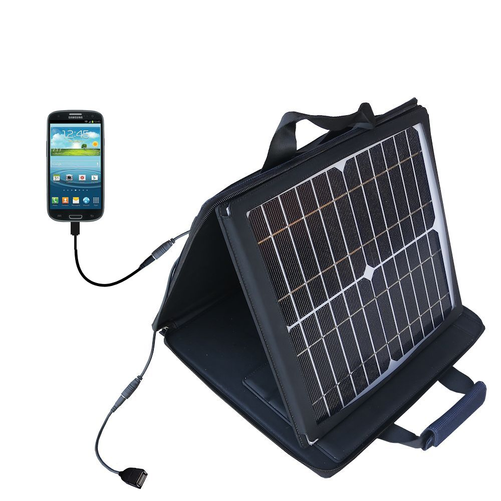 Gomadic SunVolt High Output Portable Solar Power Station designed for the Samsung Galaxy S III - Can charge multiple devices with outlet speeds
