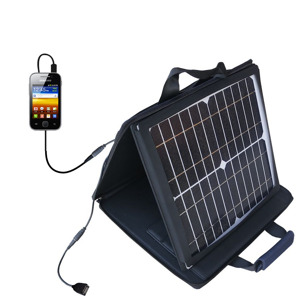 Gomadic SunVolt High Output Portable Solar Power Station designed for the Samsung Galaxy Y - Can charge multiple devices with outlet speeds