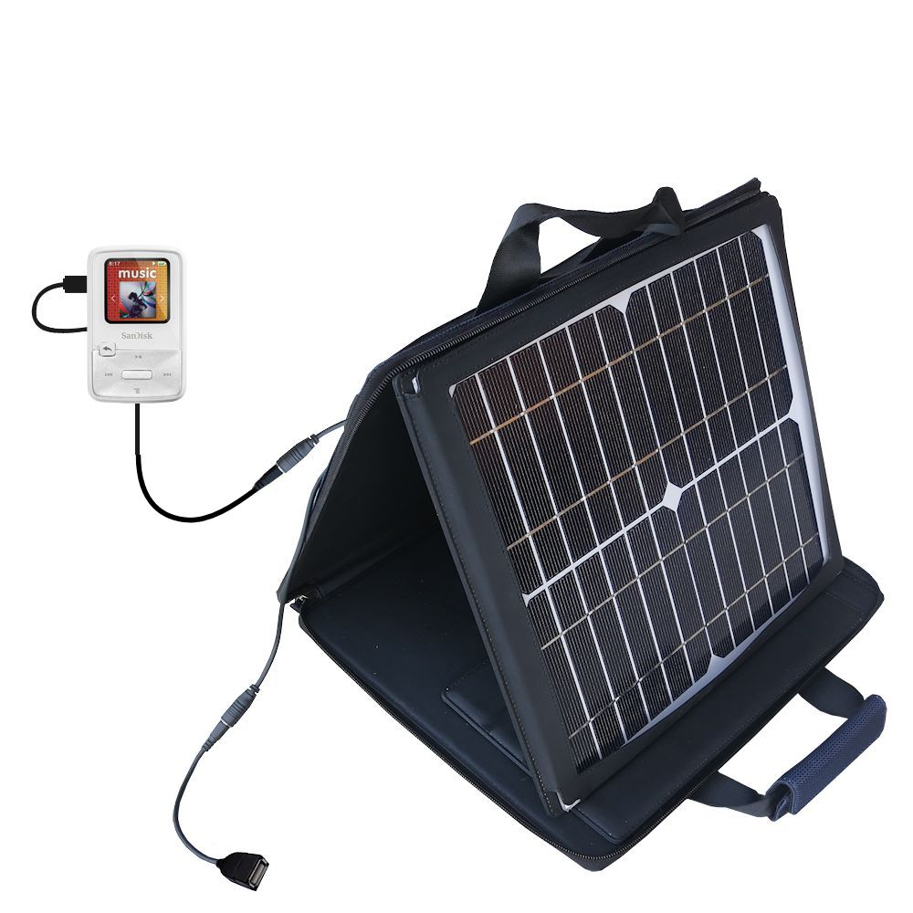 Gomadic SunVolt High Output Portable Solar Power Station designed for the Sandisk Sansa Clip Zip - Can charge multiple devices with outlet speeds