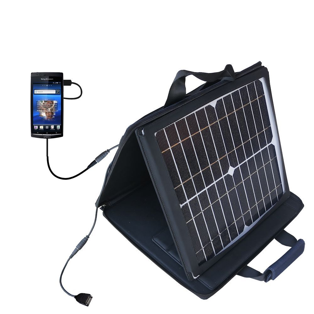 Gomadic SunVolt High Output Portable Solar Power Station designed for the Sony Ericsson LT15i - Can charge multiple devices with outlet speeds