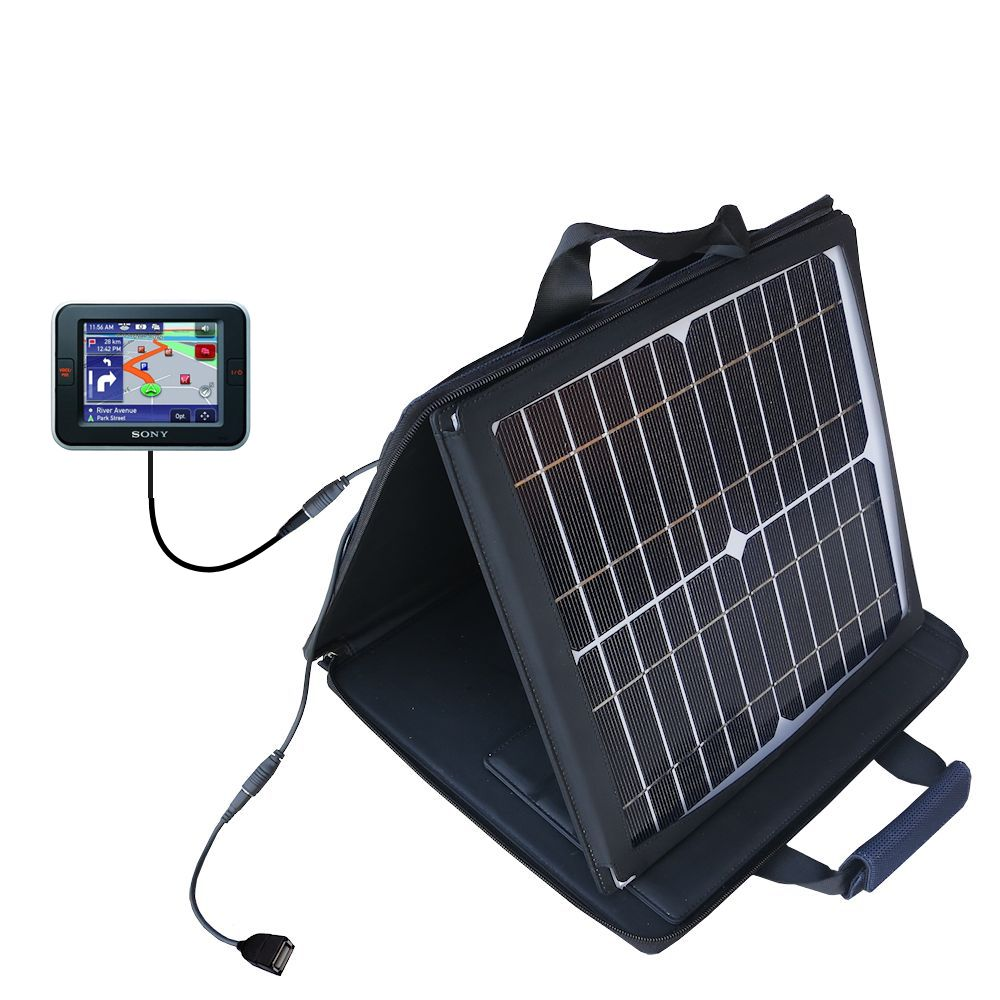 Gomadic SunVolt High Output Portable Solar Power Station designed for the Sony Nav-U NV-U52 - Can charge multiple devices with outlet speeds