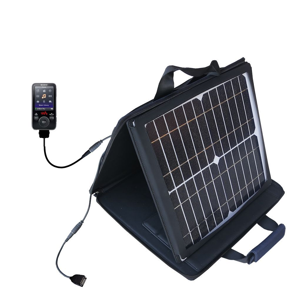 Gomadic SunVolt High Output Portable Solar Power Station designed for the Sony Walkman NWZ-E438F - Can charge multiple devices with outlet speeds