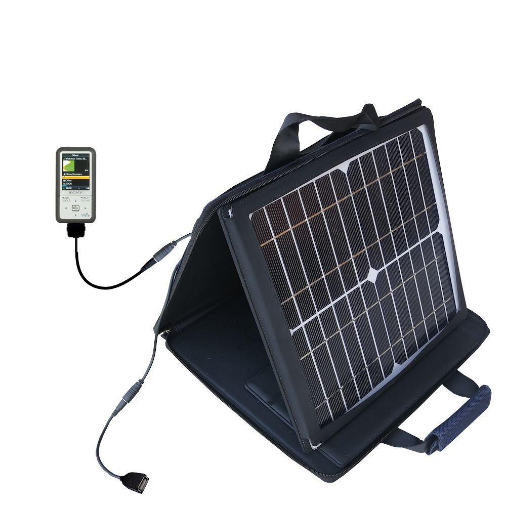 Gomadic SunVolt High Output Portable Solar Power Station designed for the Sony Walkman NWZ-S616 - Can charge multiple devices with outlet speeds