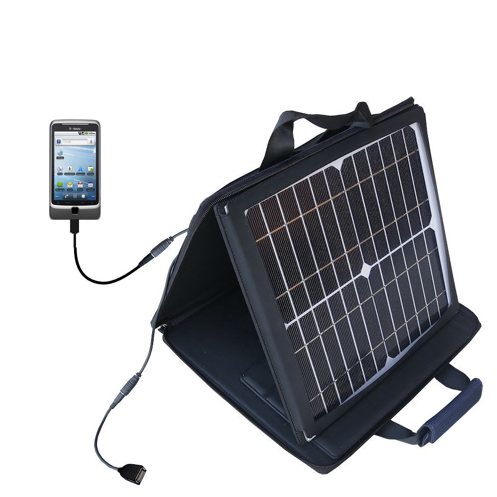 Gomadic SunVolt High Output Portable Solar Power Station designed for the T-Mobile G2 - Can charge multiple devices with outlet speeds