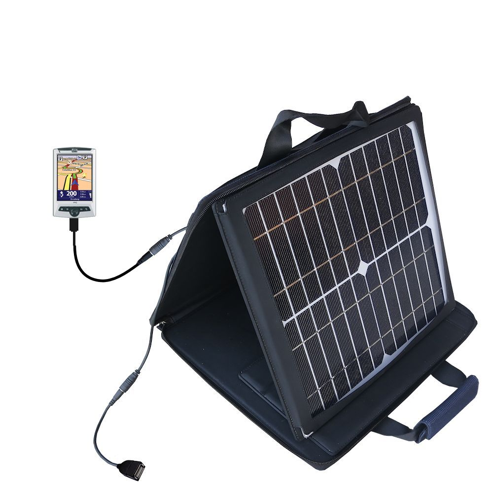 Gomadic SunVolt High Output Portable Solar Power Station designed for the TomTom Navigator 5 - Can charge multiple devices with outlet speeds