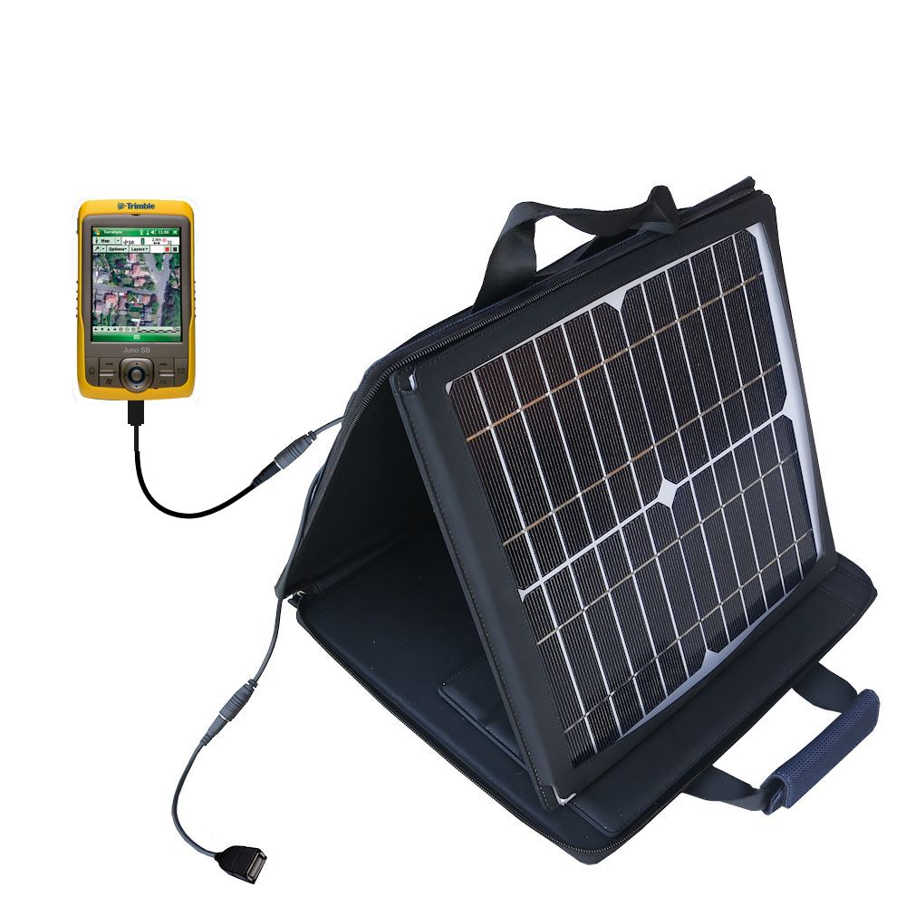 Gomadic SunVolt High Output Portable Solar Power Station designed for the Trimble Juno SB - Can charge multiple devices with outlet speeds