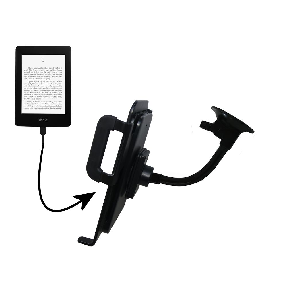 Gooseneck Holder Base with Suction Cup Mount compatible with Amazon Kindle Paperwhite Tablet
