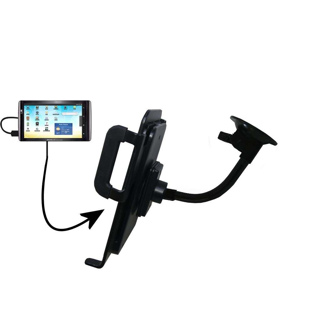 Gooseneck Holder Base with Suction Cup Mount compatible with Archos 101 Internet Tablet Tablet