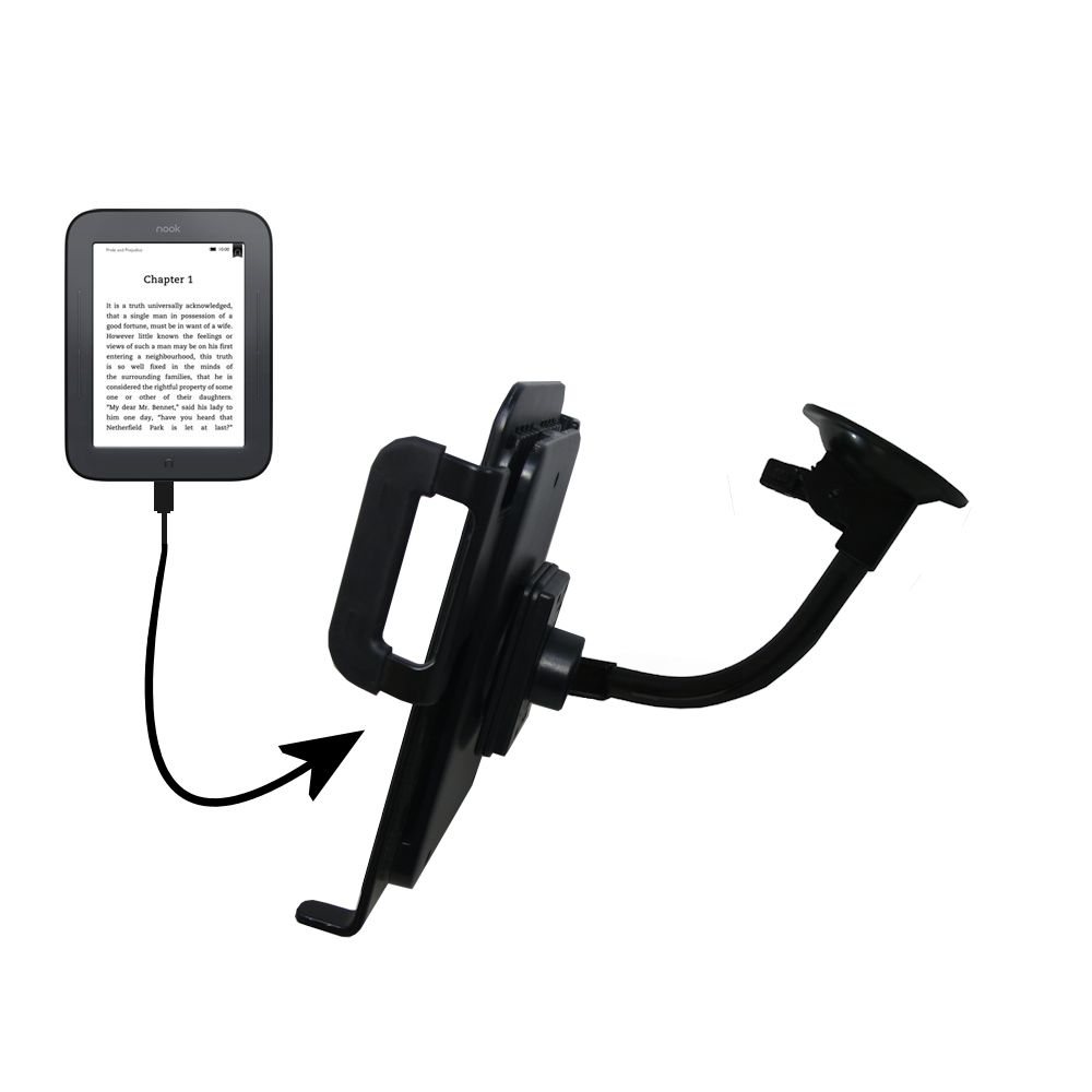 Gooseneck Holder Base with Suction Cup Mount compatible with Barnes and Noble nook Original eBook eReader Tablet