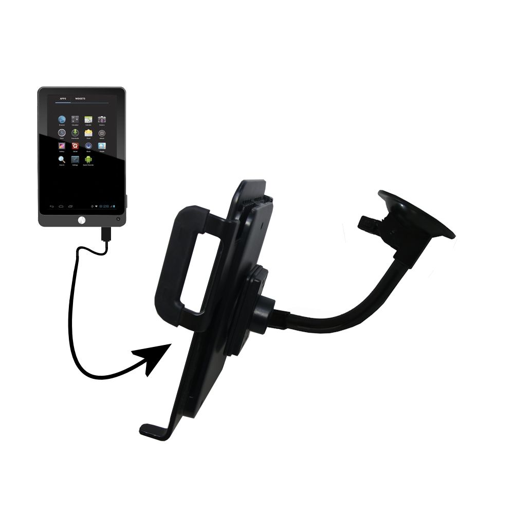 Gooseneck Holder Base with Suction Cup Mount compatible with Coby Kyros MID7042 MID7048 Tablet