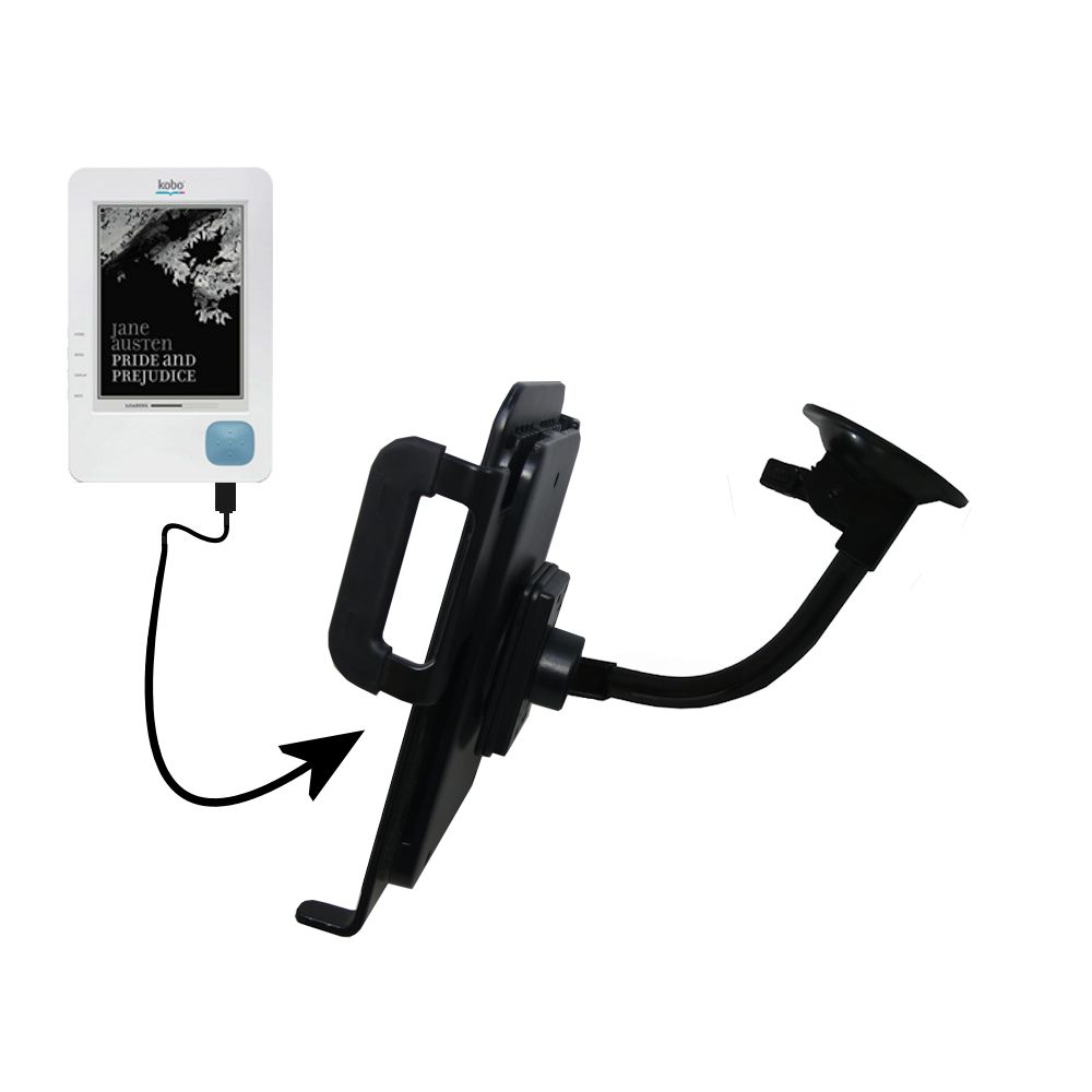 Gooseneck Holder Base with Suction Cup Mount compatible with Kobo eReader Tablet