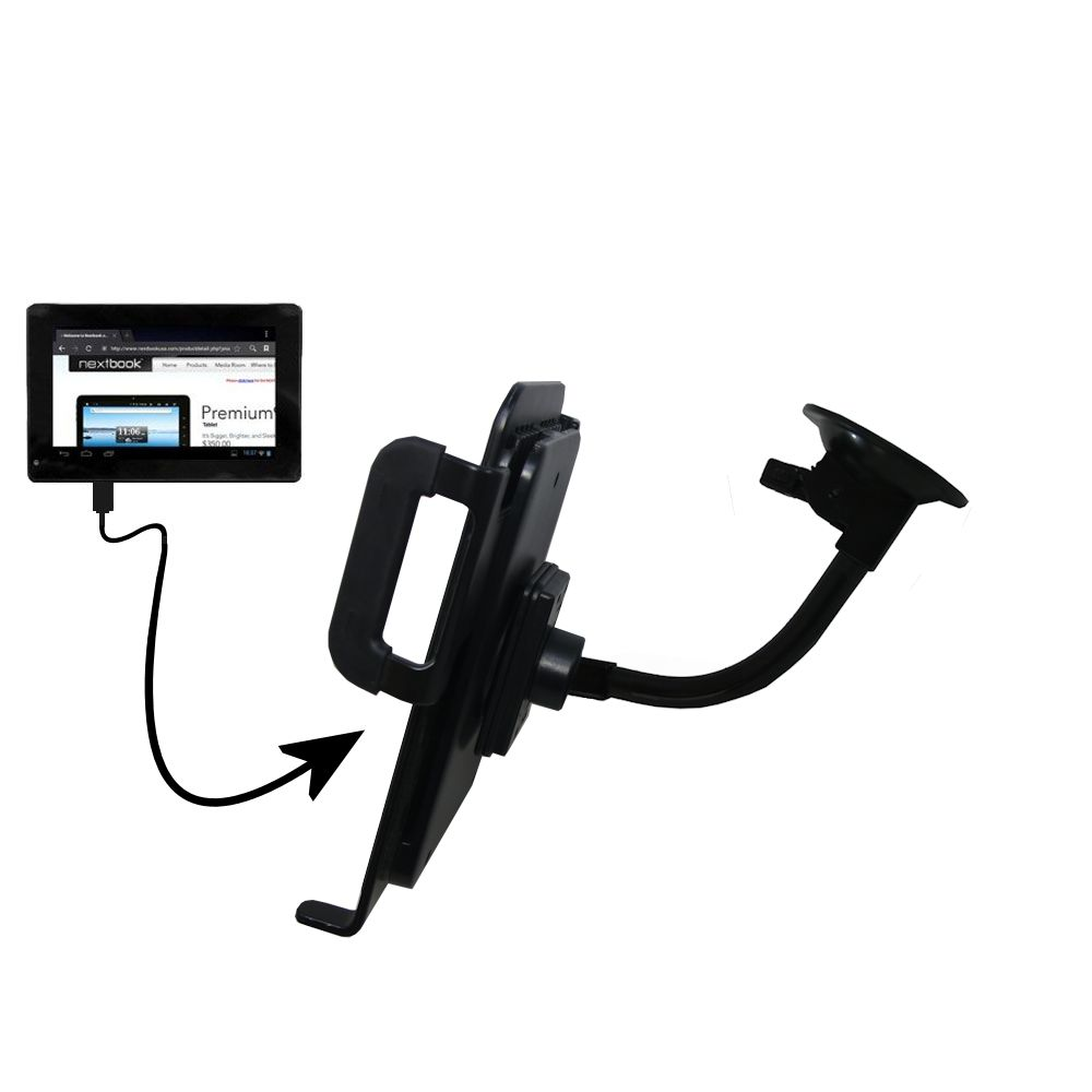 Gooseneck Holder Base with Suction Cup Mount compatible with Nextbook Premium 7SE Next7P12 Tablet