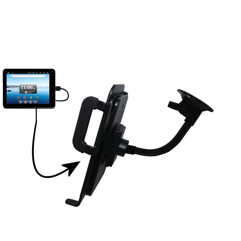 Gooseneck Holder Base with Suction Cup Mount compatible with Nextbook Premium8 Tablet Tablet